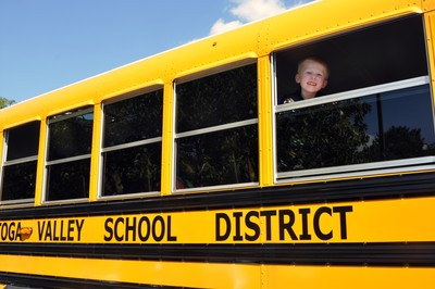 Student on school bus